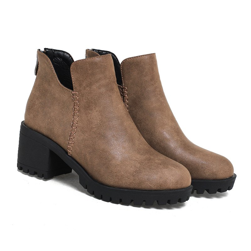 Women's Shoes Fashion Boots Chunky Heel Round Toe Booties Zipper - BROWN 39
