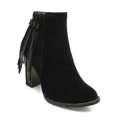 Women's Shoes Winter Fashion Chunky Heel Round Toe Ankle Boots Tassel Zipper - BLACK 37