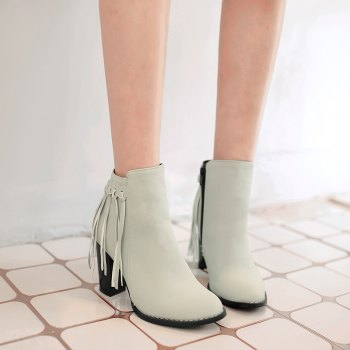 Women's Shoes Winter Fashion Chunky Heel Round Toe Ankle Boots Tassel Zipper - GRAY GRAY