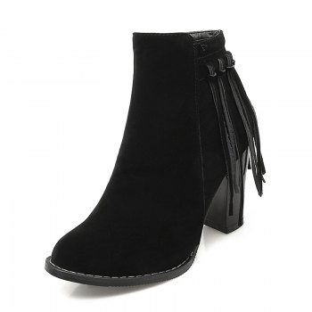 Women's Shoes Winter Fashion Chunky Heel Round Toe Ankle Boots Tassel Zipper - BLACK BLACK