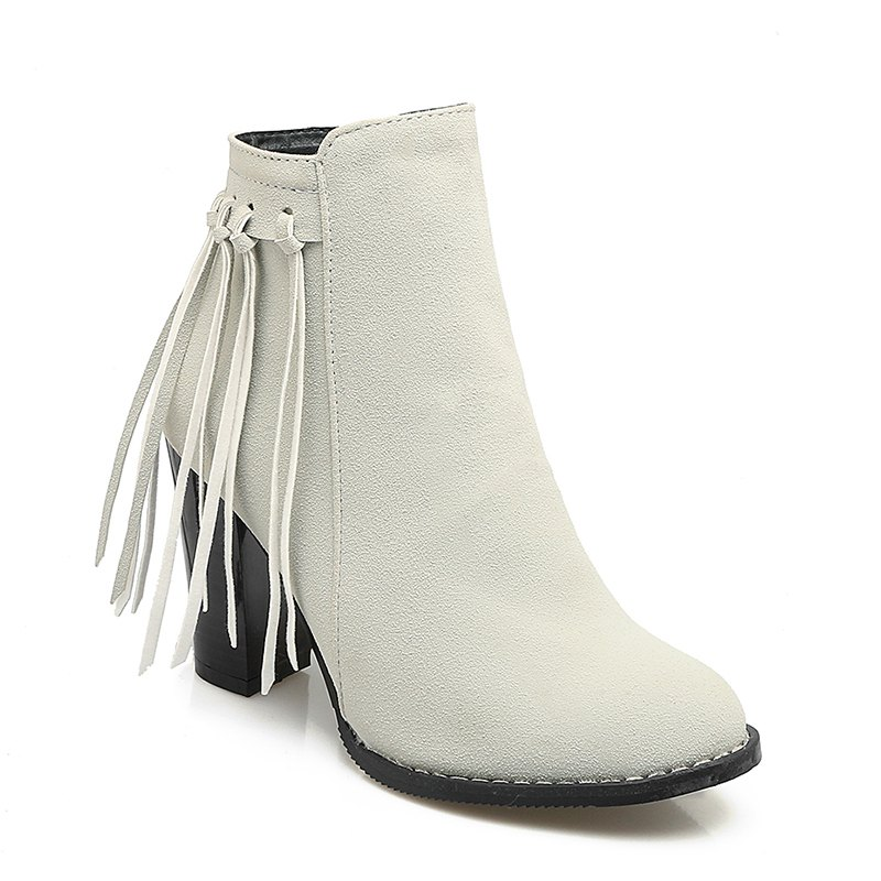 Women's Shoes Winter Fashion Chunky Heel Round Toe Ankle Boots Tassel Zipper - GRAY 35
