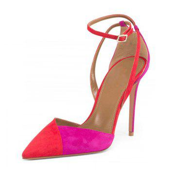 Women's Sandals Formal Shoes Leatherette Summer Buckle Split - RED 37
