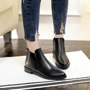 New Winter Low Heel Acumination Martin Women Short Naked Boots - BLACK 40