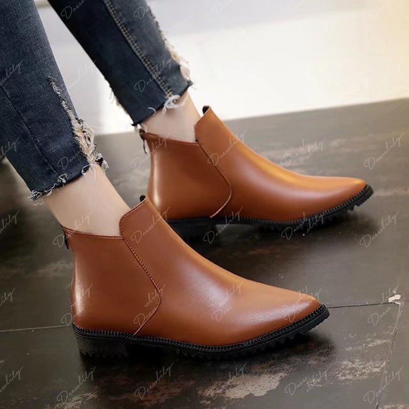 New Winter Low Heel Acumination Martin Women Short Naked Boots - BROWN 35