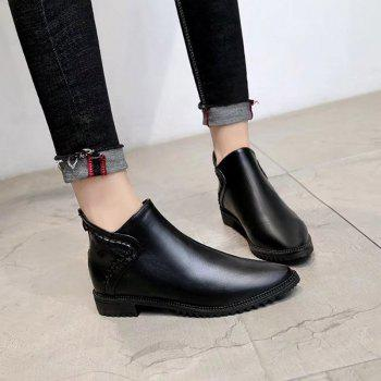 New Autumn Winter Bullock Acumination To Chelsea Short Tube Women Boots - BLACK BLACK