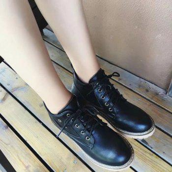 Autumn New Fashion Retro Ball Peen Martin Boots Frenulum Low Heels Women - BLACK BLACK