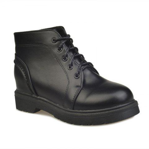 Peret Mori Series Vintage Boots With Thick Martin College Wind Coarse Heel Round Head - BLACK 36