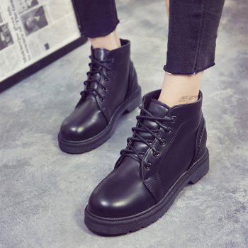Peret Mori Series Vintage Boots With Thick Martin College Wind Coarse Heel Round Head - BLACK BLACK