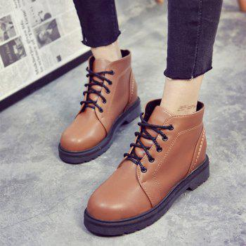 Peret Mori Series Vintage Boots With Thick Martin College Wind Coarse Heel Round Head - BROWN 37