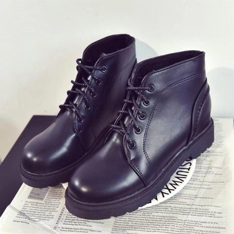 Peret Mori Series Vintage Boots With Thick Martin College Wind Coarse Heel Round Head - BLACK 38