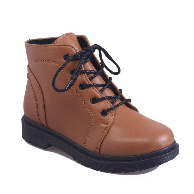 Peret Mori Series Vintage Boots With Thick Martin College Wind Coarse Heel Round Head - BROWN 36