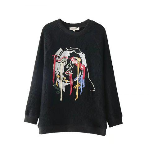 2017 New Ladies Embroidered Jacquard Sweater - BLACK L