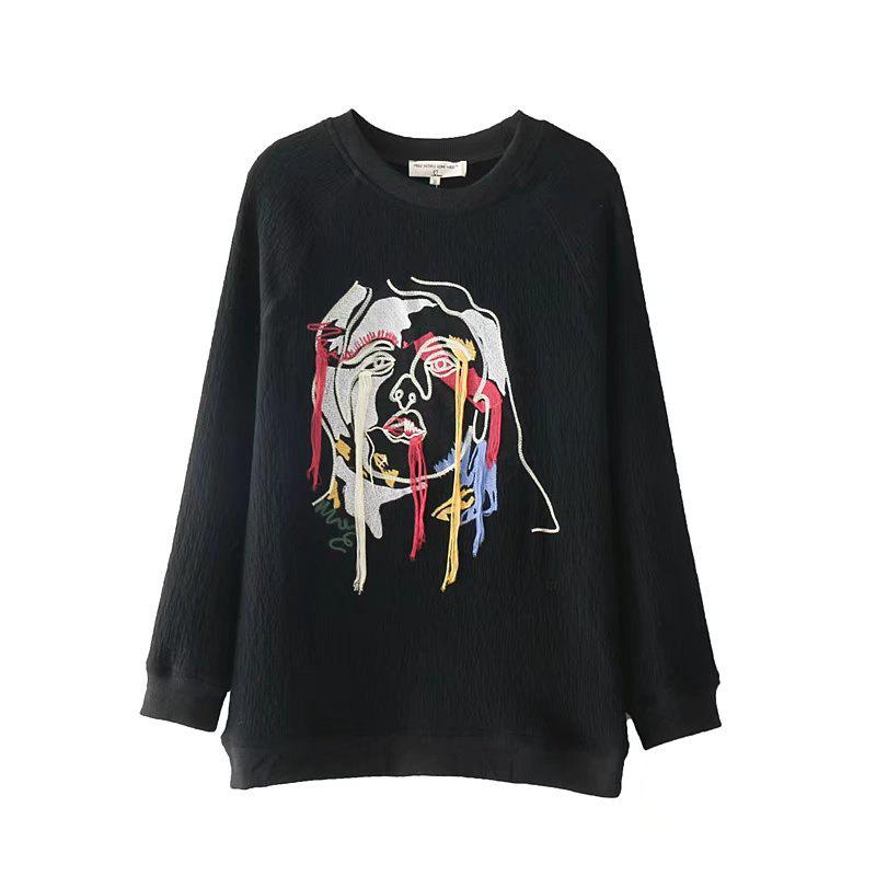 2017 New Ladies Embroidered Jacquard Sweater - BLACK S