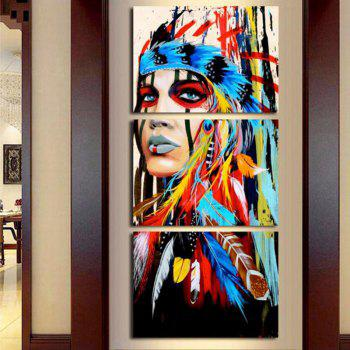 Modern Indians Modular Canvas Wall Painting 3pcs