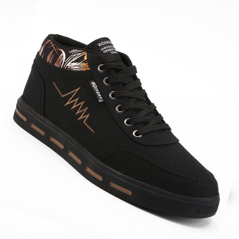 Men Casual Fashion Outdoor Lace-Up Flat Shoes Size 39-44 - BLACK/BROWN 39