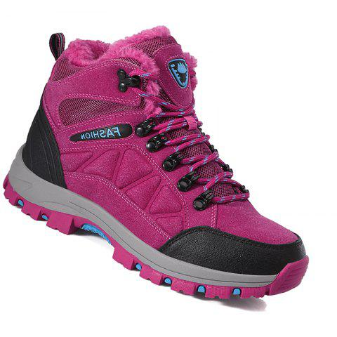 Couple Spring Hiking Boots Mountain Climbing Shoes Outdoor Plus Size Tactical Boots - ROSE RED 36