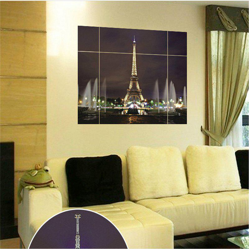 Fashion Eiffel Tower Spliced 3D Wall Stickers 2PCS - COLORMIX