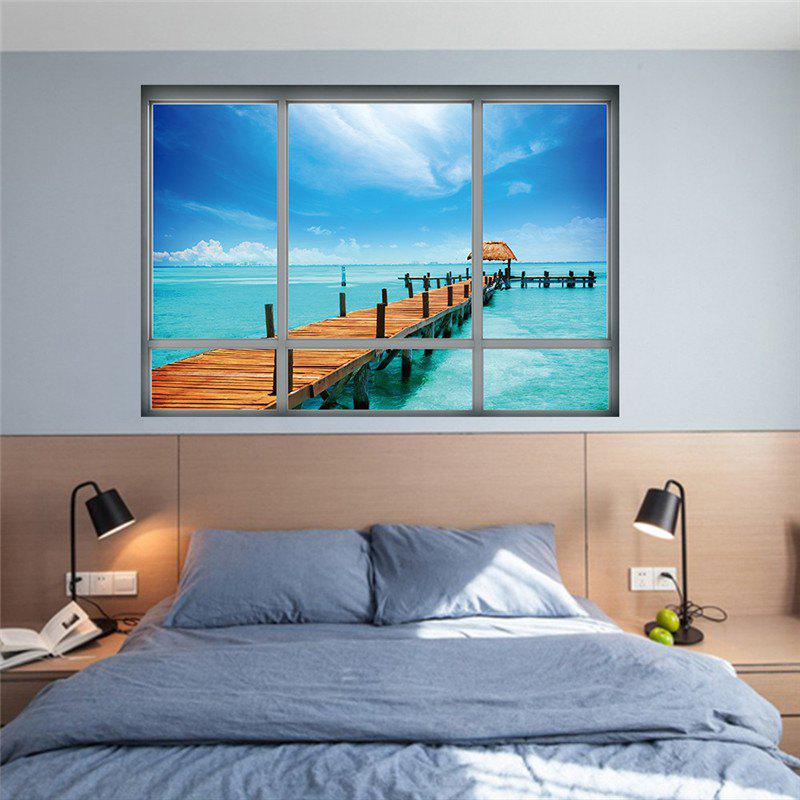 Creative 3D Fake Window Queensland Island View Wall Stickers - COLORMIX