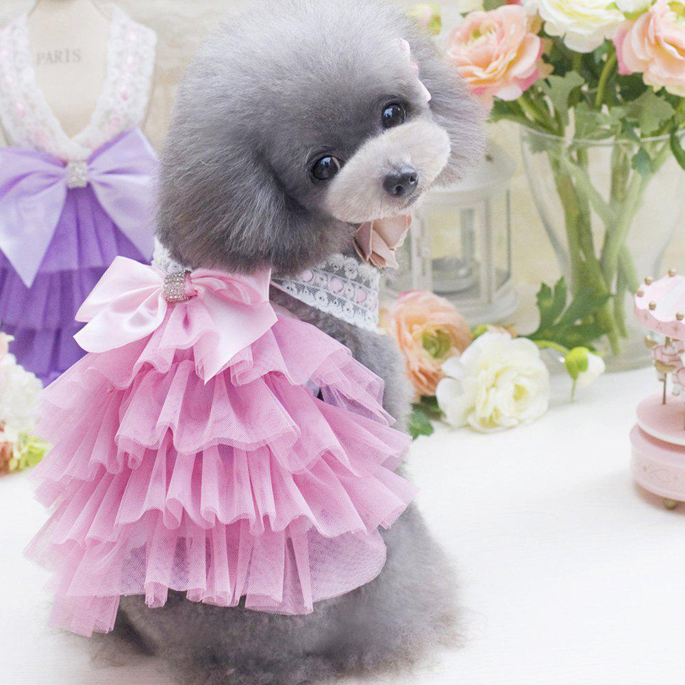 Lovoyager db201719 bow flower adornment pet mesh wedding dresses lovoyager db201719 bow flower adornment pet mesh wedding dresses for dogs pink s ombrellifo Image collections