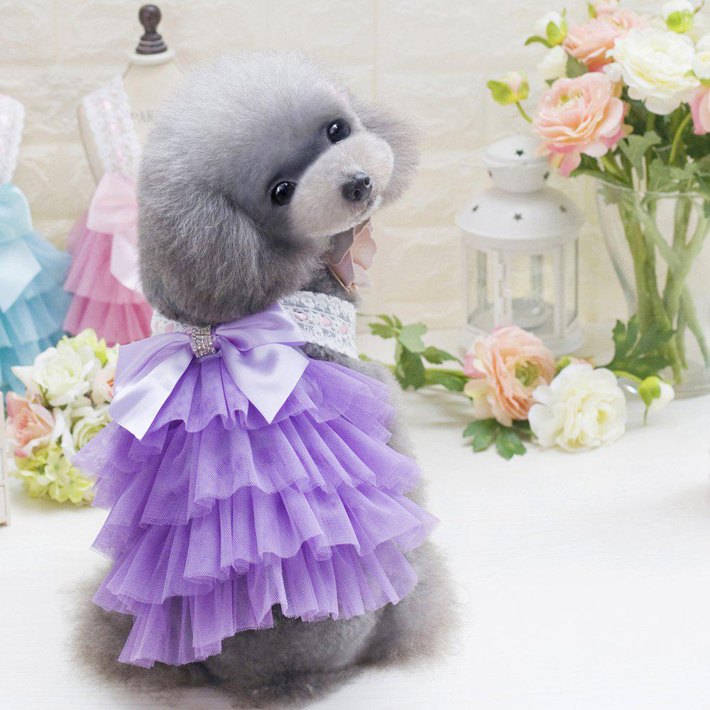 2018 lovoyager db201719 bow flower adornment pet mesh wedding lovoyager db201719 bow flower adornment pet mesh wedding dresses for dogs purple xl ombrellifo Image collections