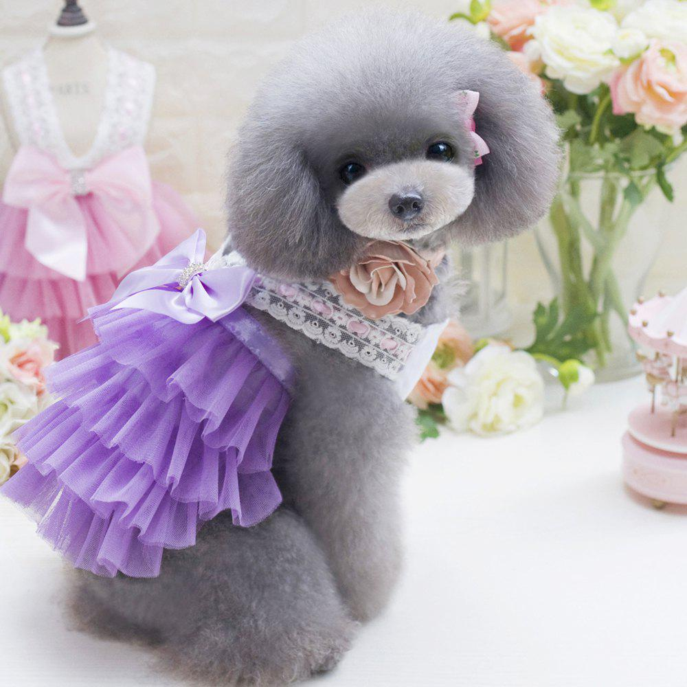 2017 lovoyager db201719 bow flower adornment pet mesh wedding lovoyager db201719 bow flower adornment pet mesh wedding dresses for dogs purple s ombrellifo Image collections
