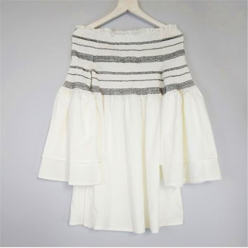 Strapless Collar Flounce Striped Horn Sleeve Dress - SNOW WHITE M