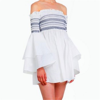 Strapless Collar Flounce Striped Horn Sleeve Dress - SNOW WHITE L