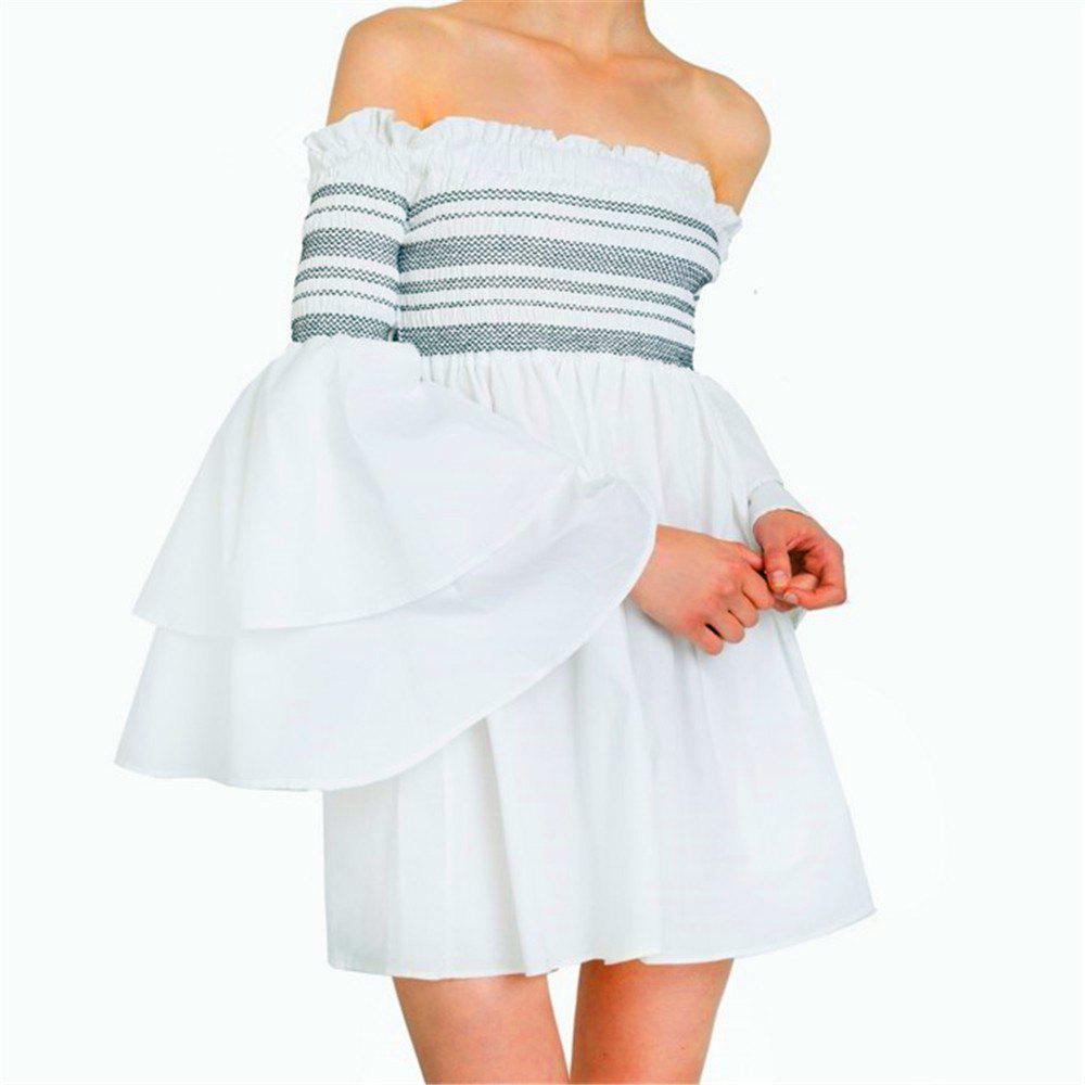 Strapless Collar Flounce Striped Horn Sleeve Dress - SNOW WHITE S