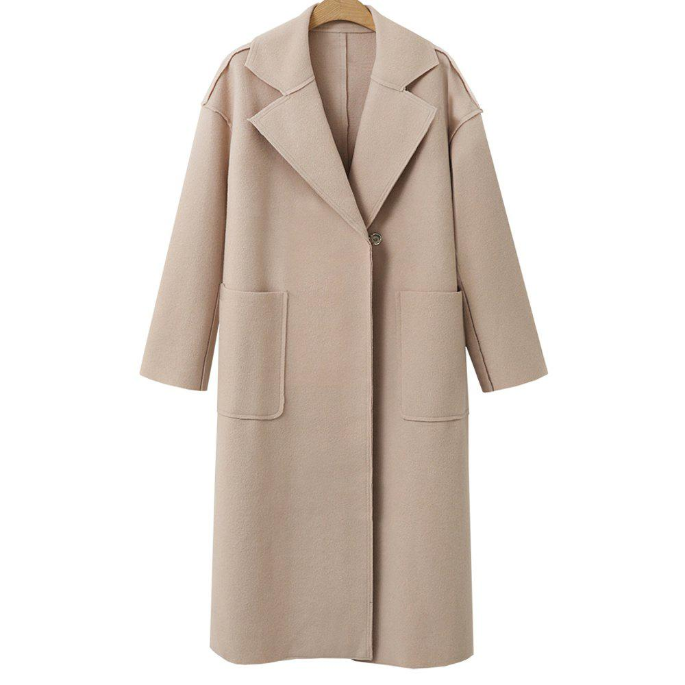Autumn and Winter Solid Cashmere Coat - BEIGE L