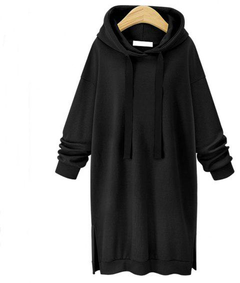 Autumn and Winter New Long Hooded Women Sweater - BLACK L
