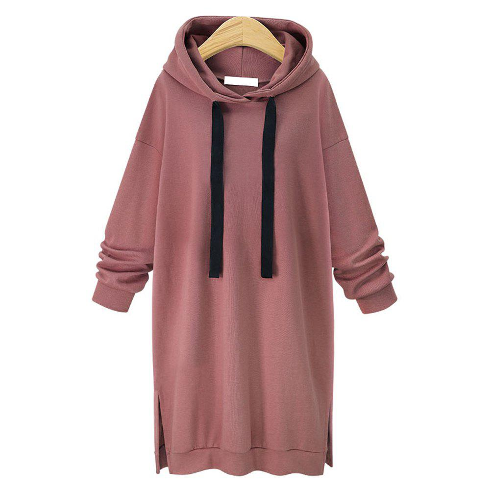 Autumn and Winter New Long Hooded Women Sweater - BRICK RED L
