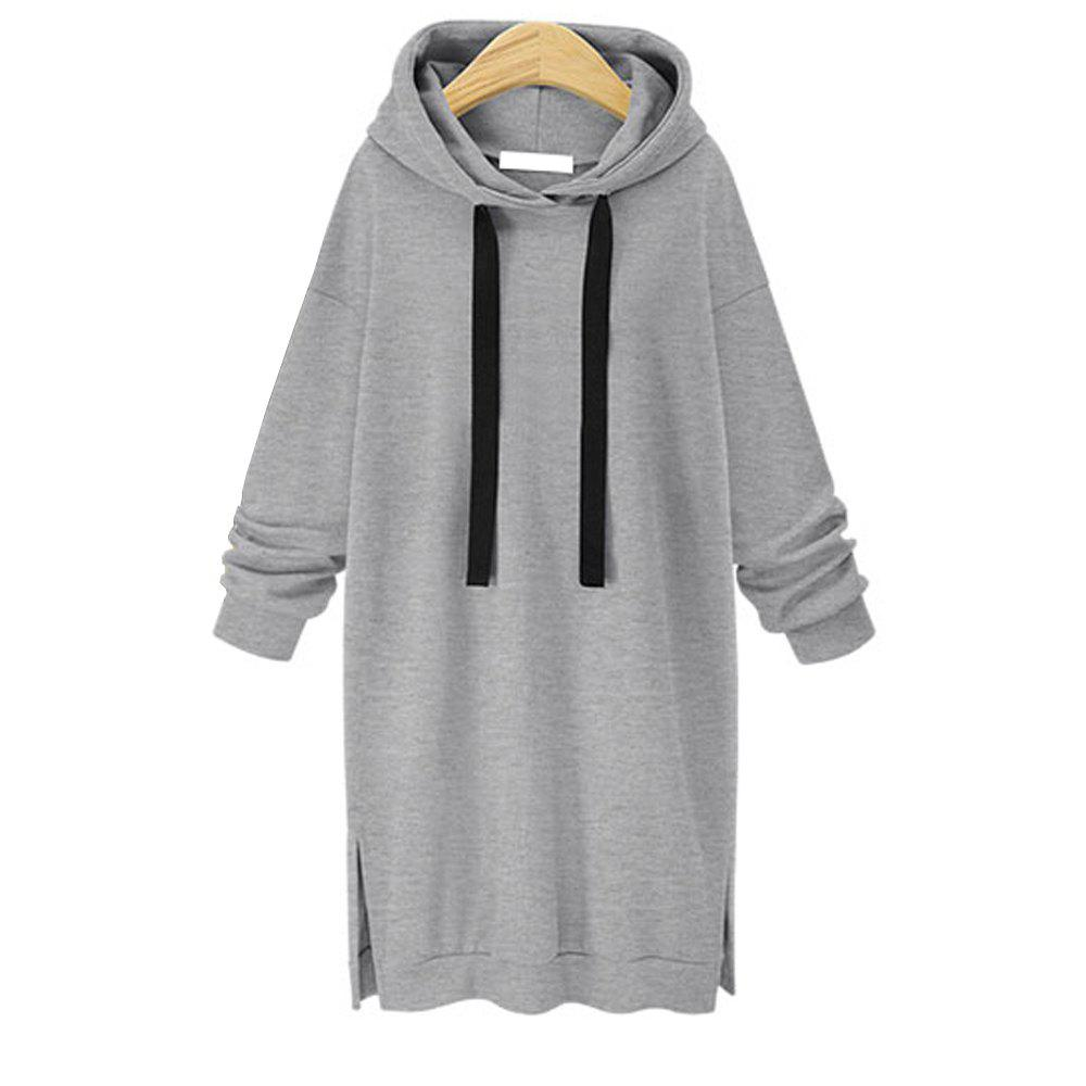 Autumn and Winter New Long Hooded Women Sweater - GRAY L