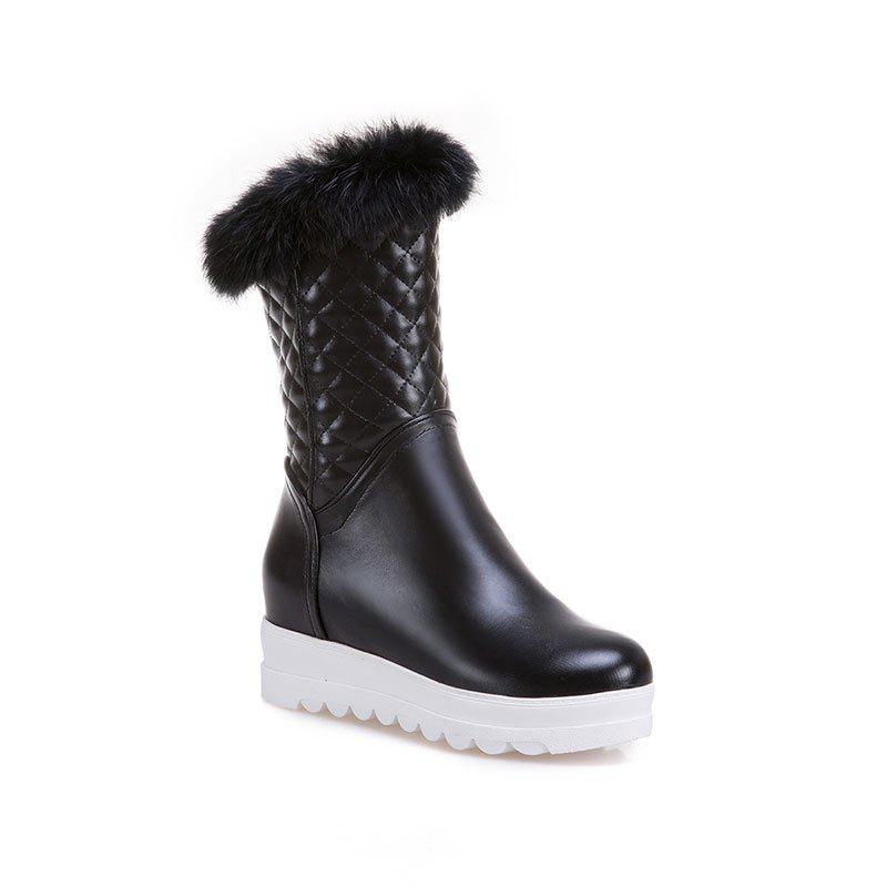 Sweet Flat Bottom of Autumn and Winter High Boots - BLACK 36