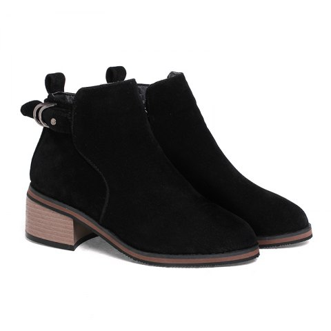Women's Shoes Leatherette Winter Fashion Bootie Chunky Heel Round Toe Ankle Boots Zipper - BLACK 40