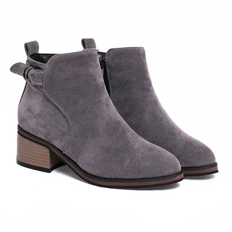 Women's Shoes Leatherette Winter Fashion Bootie Chunky Heel Round Toe Ankle Boots Zipper - GRAY 40