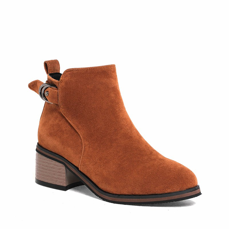Women's Shoes Leatherette Winter Fashion Bootie Chunky Heel Round Toe Ankle Boots Zipper - BROWN 37