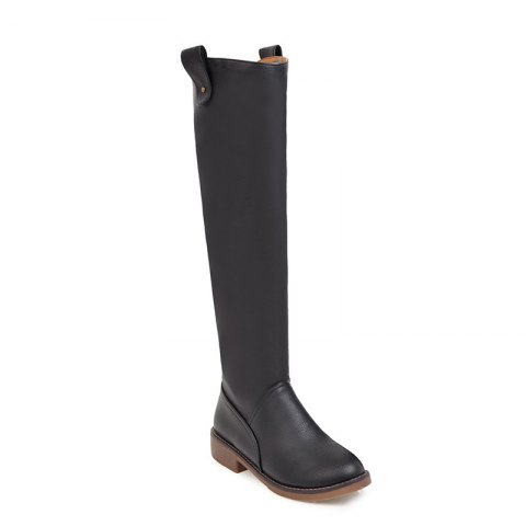 Winter Riding Fashion Slouch Low Heel Round Toe Knee High Boots - BLACK 37