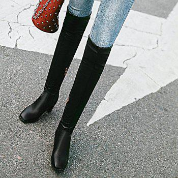 Winter Riding Fashion Slouch Low Heel Round Toe Knee High Boots - BLACK 43