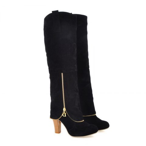 Elegant Women's Shoes Faux Suede Round Toe Chunky Heel Knee High Boots Winter Dress Black Grey Red - BLACK 34