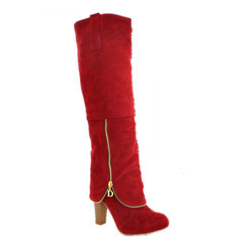Elegant Women's Shoes Faux Suede Round Toe Chunky Heel Knee High Boots Winter Dress Black Grey Red - RED 36