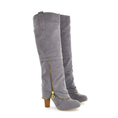 Elegant Women's Shoes Faux Suede Round Toe Chunky Heel Knee High Boots Winter Dress Black Grey Red - GRAY 37
