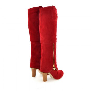 Elegant Women's Shoes Faux Suede Round Toe Chunky Heel Knee High Boots Winter Dress Black Grey Red - RED 34