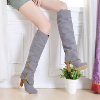 Elegant Women's Shoes Faux Suede Round Toe Chunky Heel Knee High Boots Winter Dress Black Grey Red - GRAY 43
