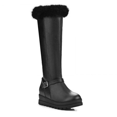 Women's Shoes Winter Snow Fashion Platform Creepers Round Toe Knee High Boots Buckle Zipper - BLACK 38