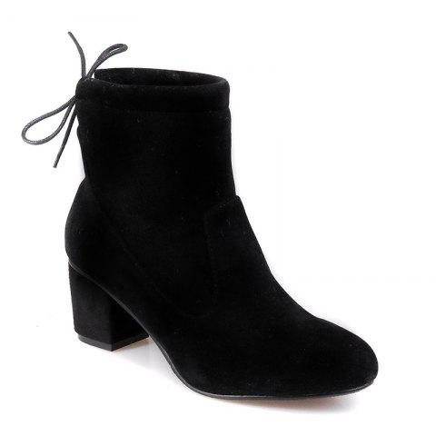 Women's Shoes Fashion Boots Chunky Heel Round Toe Booties Lace-up Casual - BLACK 35