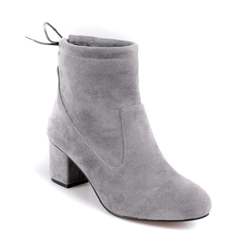 Women's Shoes Fashion Boots Chunky Heel Round Toe Booties Lace-up Casual - GRAY 34