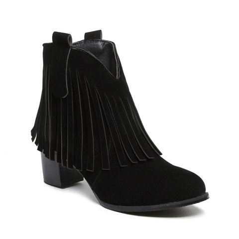 Women's Shoes Leatherette Winter Fashion Bootie Chunky Heel Round Toe Ankle Boots Tassel Casual Dress Light Brown - BLACK 36