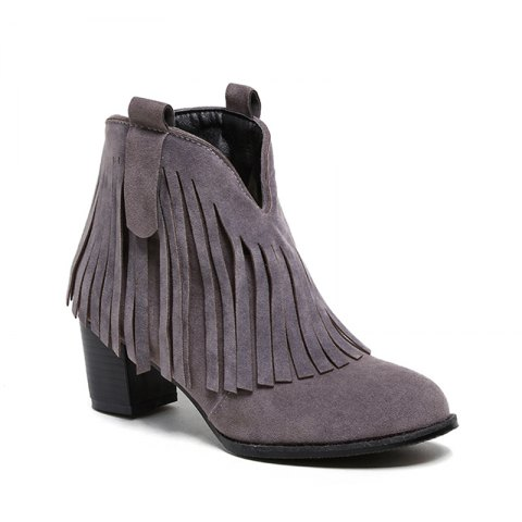 Women's Shoes Leatherette Winter Fashion Bootie Chunky Heel Round Toe Ankle Boots Tassel Casual Dress Light Brown - GRAY 34