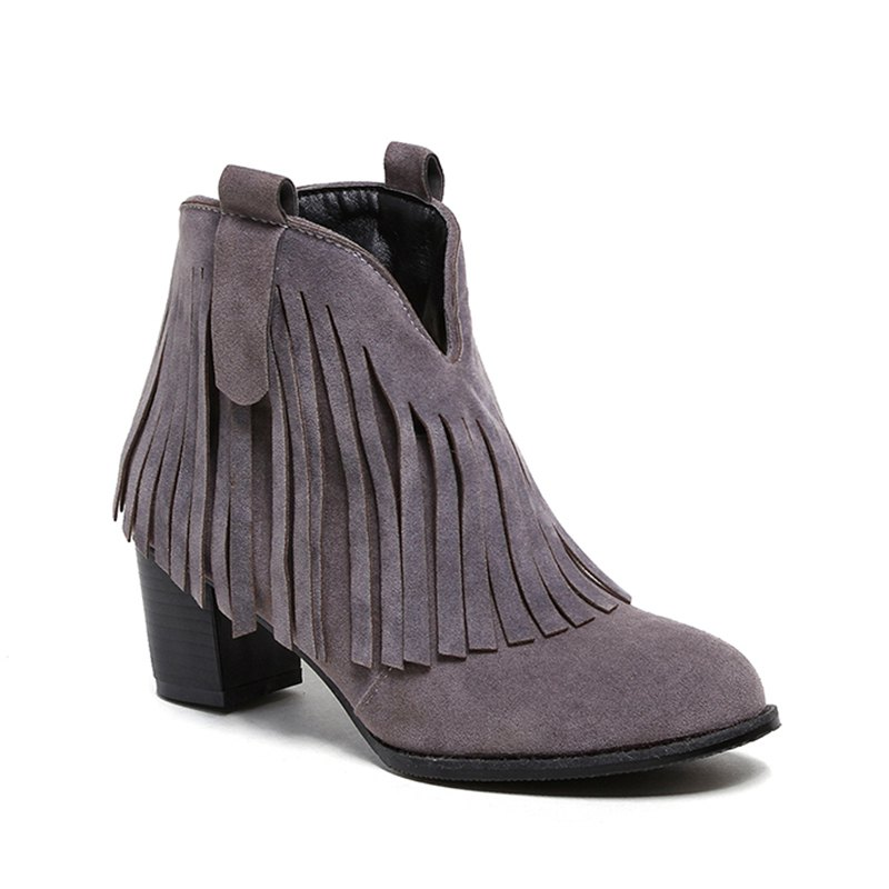 Women's Shoes Leatherette Winter Fashion Bootie Chunky Heel Round Toe Ankle Boots Tassel Casual Dress Light Brown - GRAY 38
