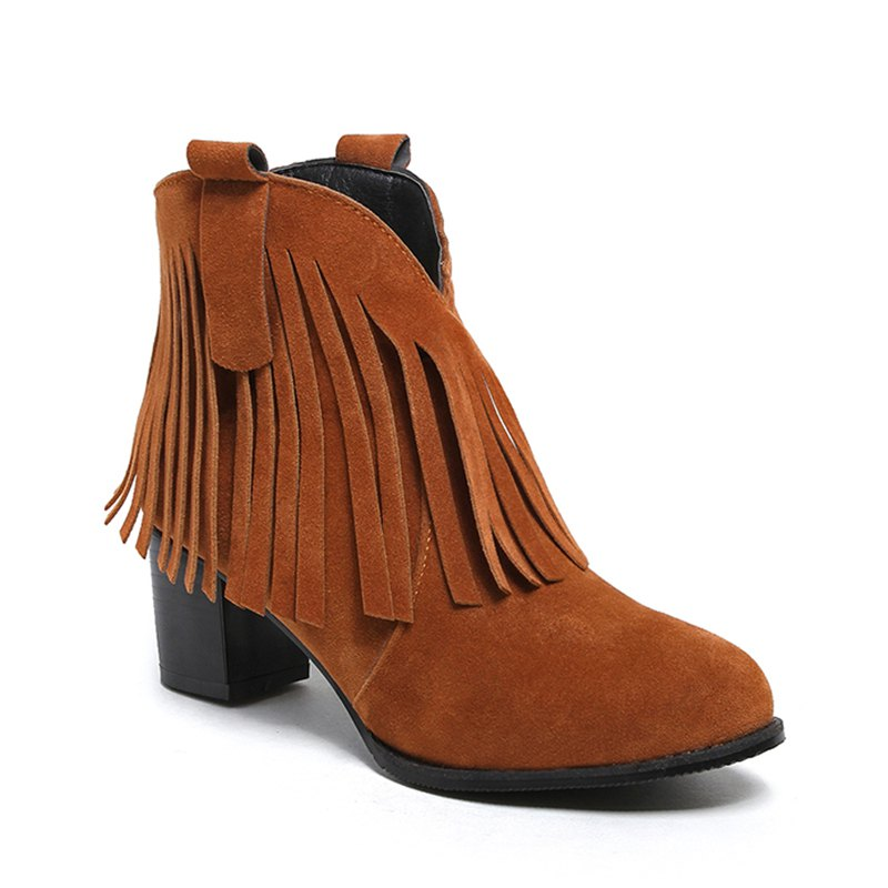 Women's Shoes Leatherette Winter Fashion Bootie Chunky Heel Round Toe Ankle Boots Tassel Casual Dress Light Brown - BROWN 39